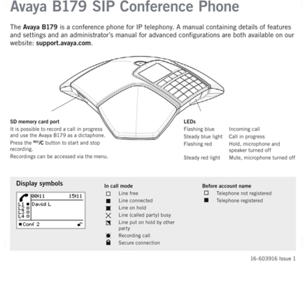 Avaya B179 SIP Conference Phone Quick Reference Guide 1024x1024 - Training Documents